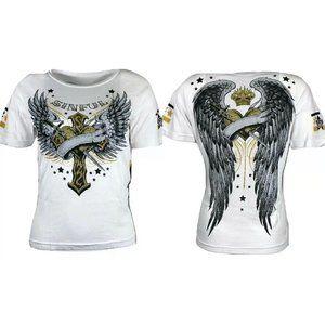 SINFUL by AFFLICTION Women's CA T-Shirt SALEM Skul